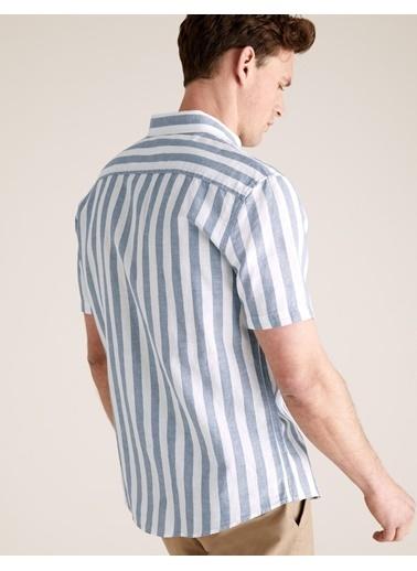 Marks & Spencer Çizgili Keten Kolay Ütülenebilir Gömlek Mavi